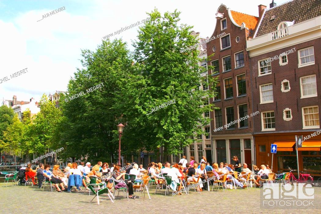 Pays Bas Amsterdam Terrasse De Café Sur Le Pont