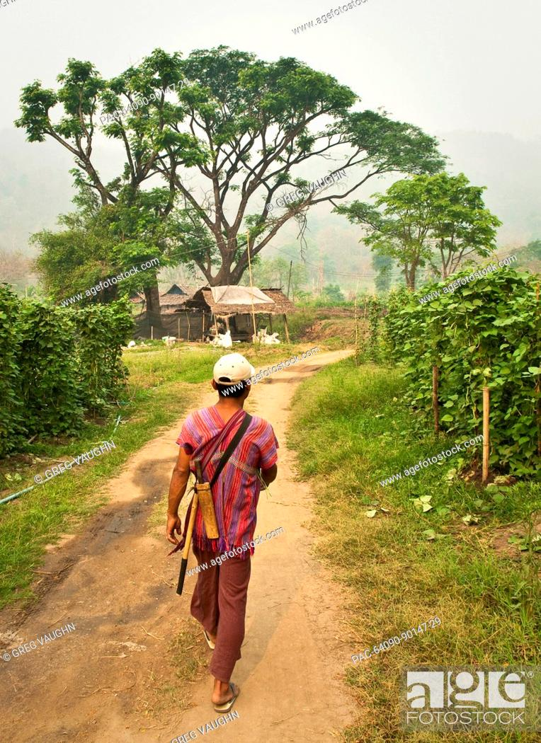 Stock Photo: Thailand, Chiang Mai Province, Guide leads the way to the Patara Elephant Farm.