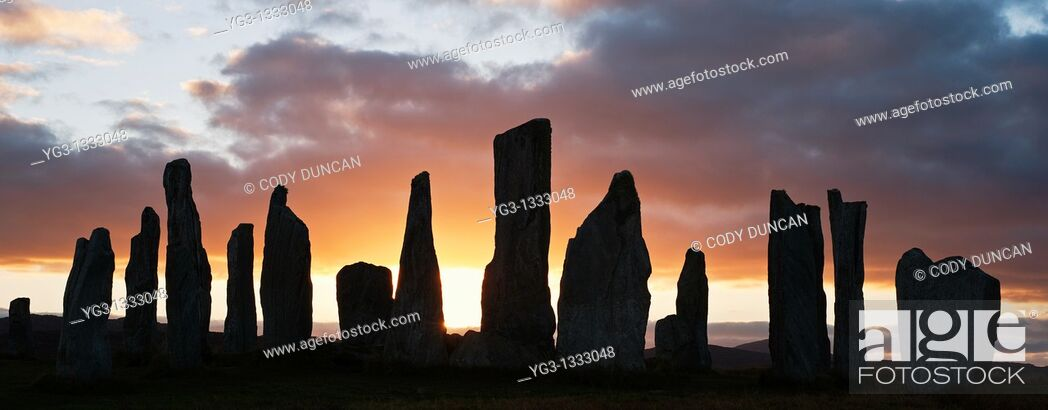 Stock Photo: Silhouette of Callanish standing stones, Isle of Lewis, Outer Hebrides, Scotland.