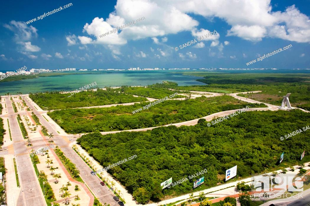 Stock Photo: Aerial view of Nichupte Lagoon and Malecon Tajamar, Cancun, Quintana Roo, Mexico.