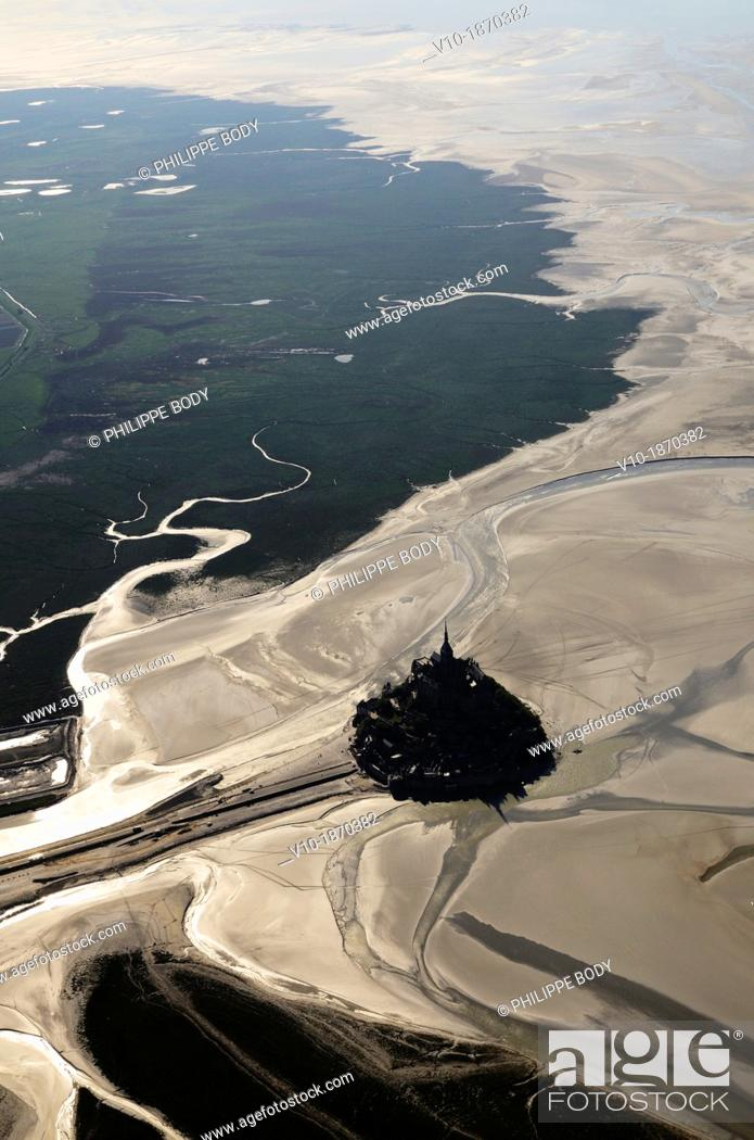 Stock Photo: France, Normandy, Manche, bay of Mont-Saint-Michel on the world heritage list of UNESCO, aerial view of the Mont-Saint-Michel and the polders.
