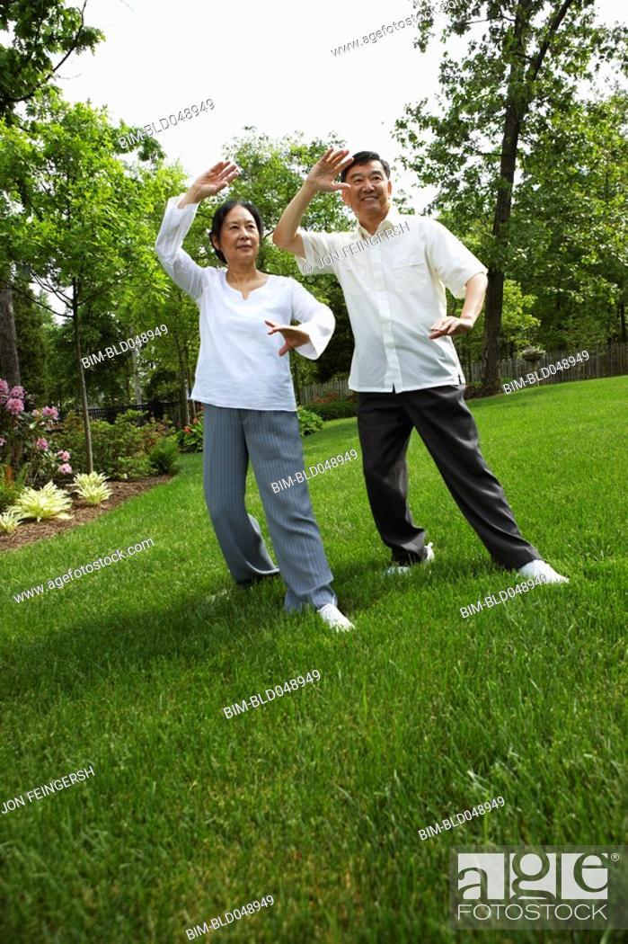 Stock Photo: Senior Asian couple practicing tai chi.