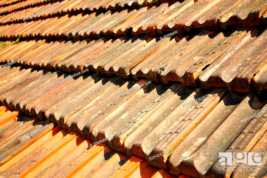 Stock Photo: old roof in italy the line and texture of diagonal.