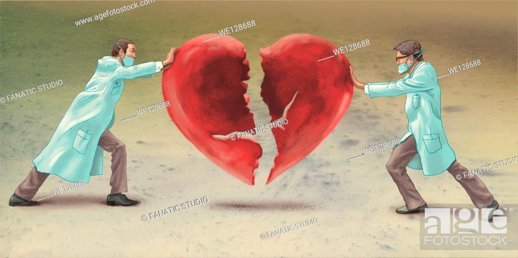 Stock Photo: Illustrative image of doctors joining heart representing heart surgery.