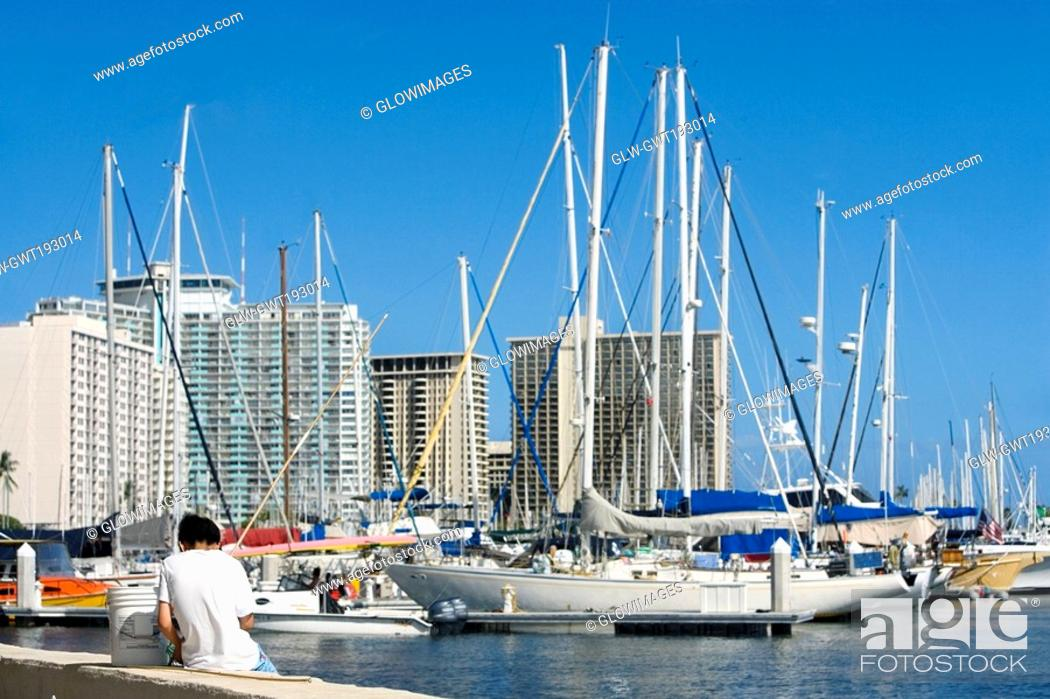 Stock Photo: Sailboats docked at a harbor, Honolulu, Oahu, Hawaii Islands, USA.