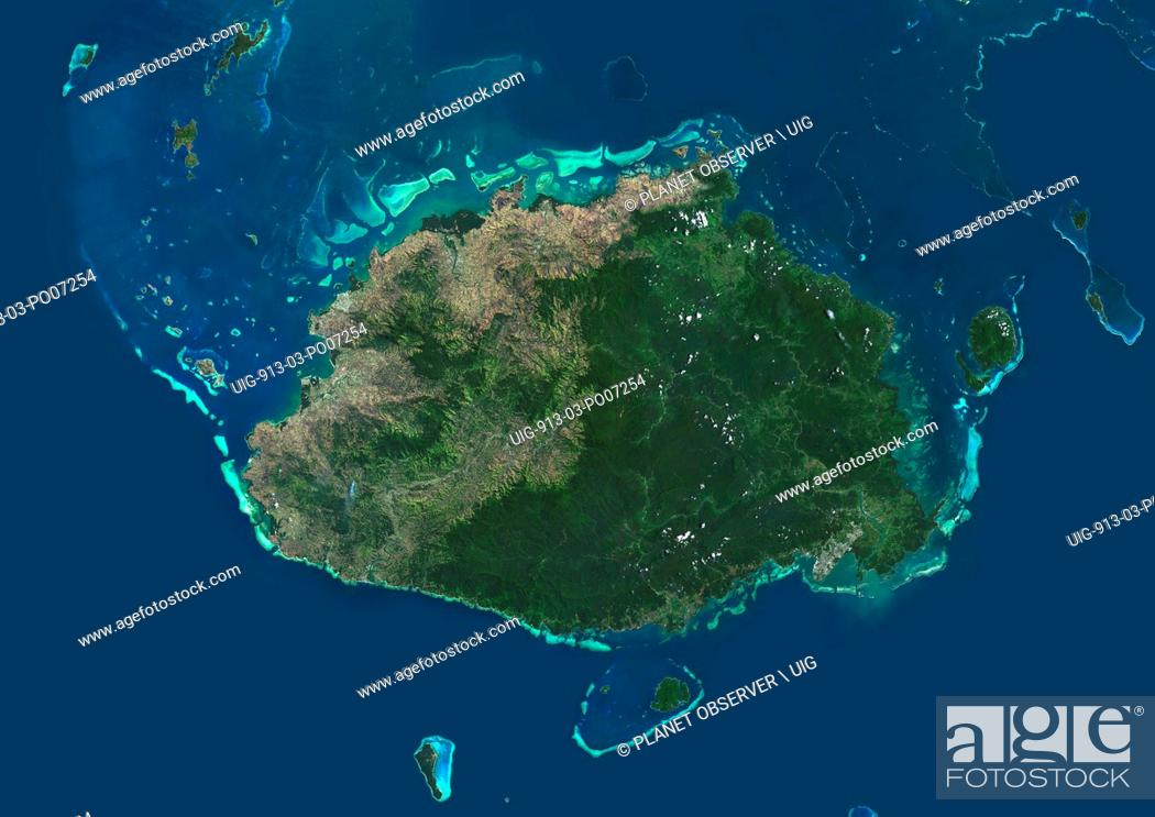 Imagen: Satellite view of Viti Levu Island, Fiji. This is the largest island in the Republic of Fiji and the site of the nation's capital, Suva.