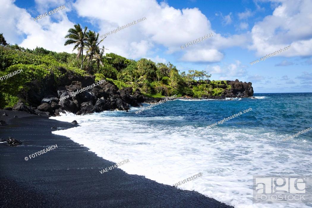 Stock Photo: Black sand beach in Maui, Hawaii.