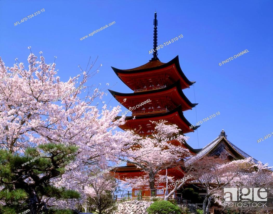 Stock Photo: Five-story Pagoda in Itsukushima-jinja, Hiroshima Prefecture, Japan.