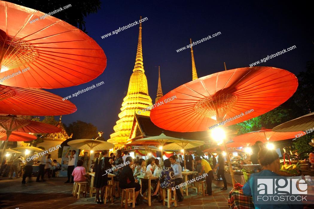 Stock Photo: temporary restaurants in Wat Pho monastery during Songkran festival Bangkok, Thailand, Asia.