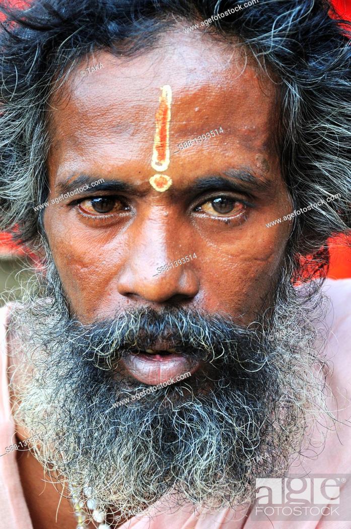 Stock Photo: Sadhu was having tea in the morning.