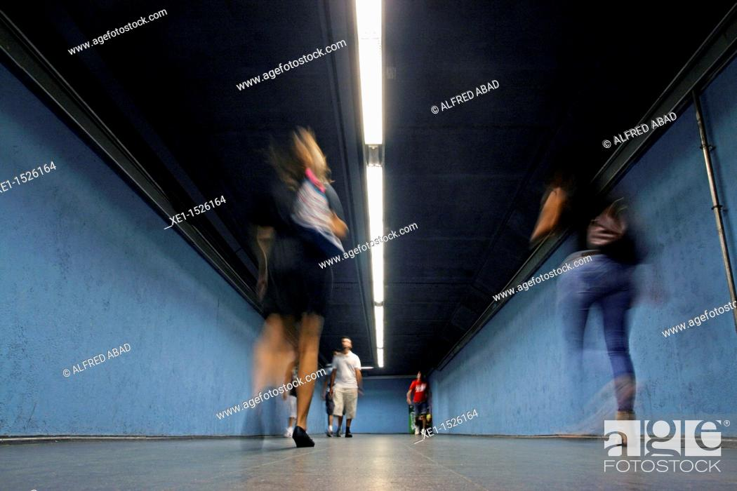 Stock Photo: Tunnel, interchange station, subway, Barcelona, Catalonia, Spain.