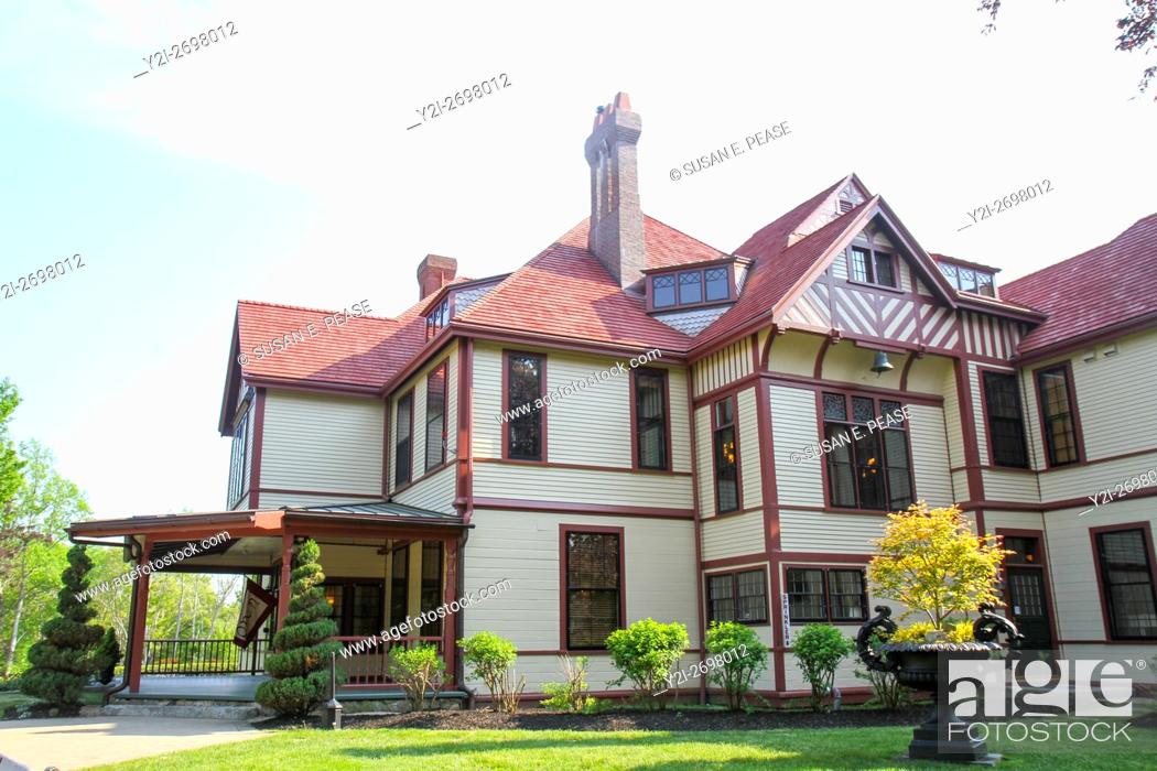 Stock Photo: Highfield Hall, a restored Victorian estate built in 1878 for the Beebe family, in Falmouth, Cape Cod, Massachusetts, United States, North America.