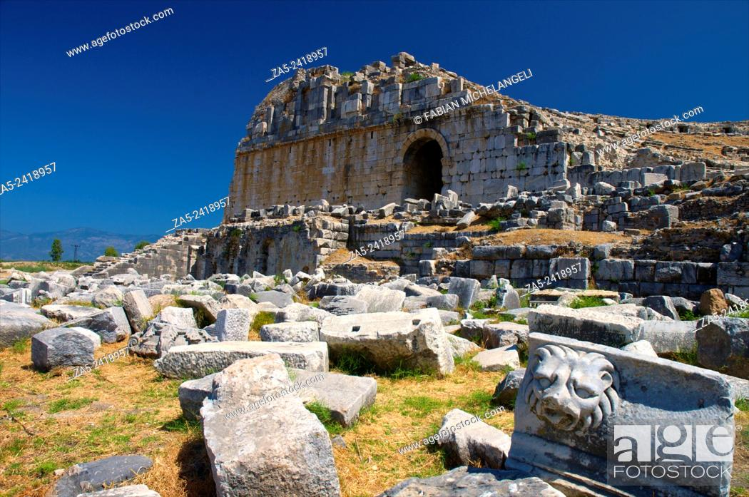 Stock Photo: The amphitheater at Miletos showing the side entrance with vaulted door with decorated pilasters. Miletos, Anatolia, Turkey.