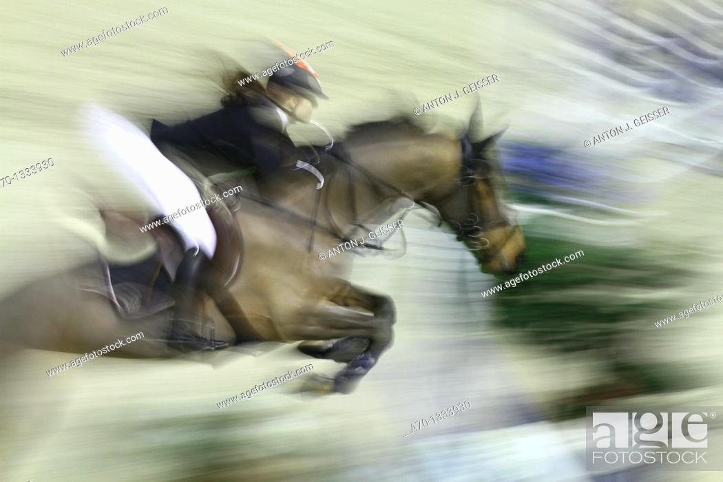 Stock Photo: horse riding , hurdle , feature.