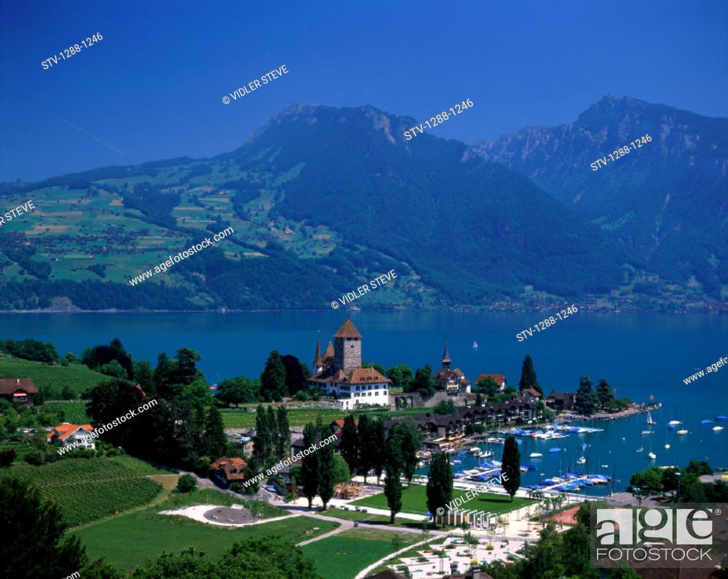 Imagen: Holiday, Lake, Lake thun, Landmark, Mountains, Spiez, Switzerland, Europe, Tourism, Travel, Vacation,.
