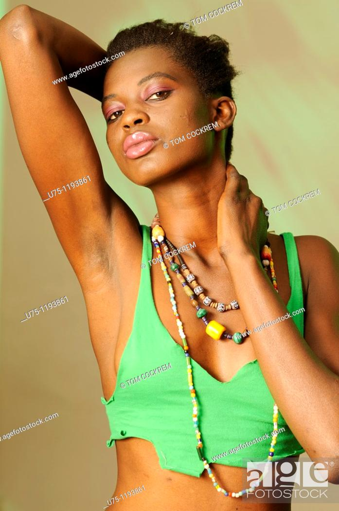 Stock Photo: Black African Model wearing beads.