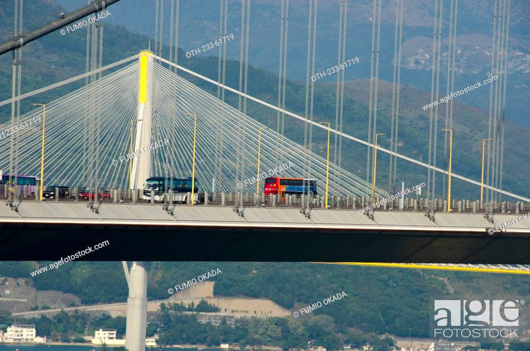 Stock Photo: Overlooking Tsing Ma Bridge and Ting Kau Bridge from Ma Wan, Hong Kong.