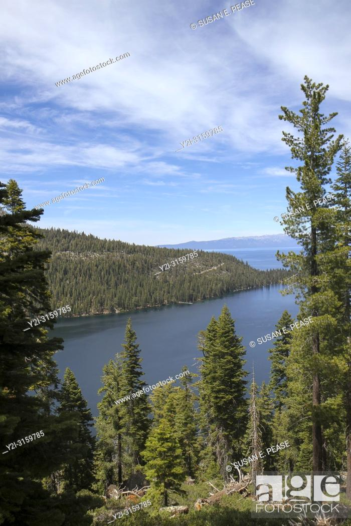 Stock Photo: View from Inspiration Point, Emerald Bay, Lake Tahoe, California, United States.