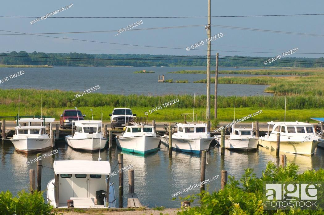 Stock Photo: Fishing boats, Kent Narrows, Maryland USA.