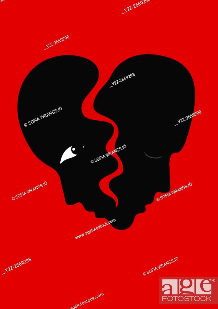Stock Photo: Two faces as a heart about to break. Illustration of a separation.