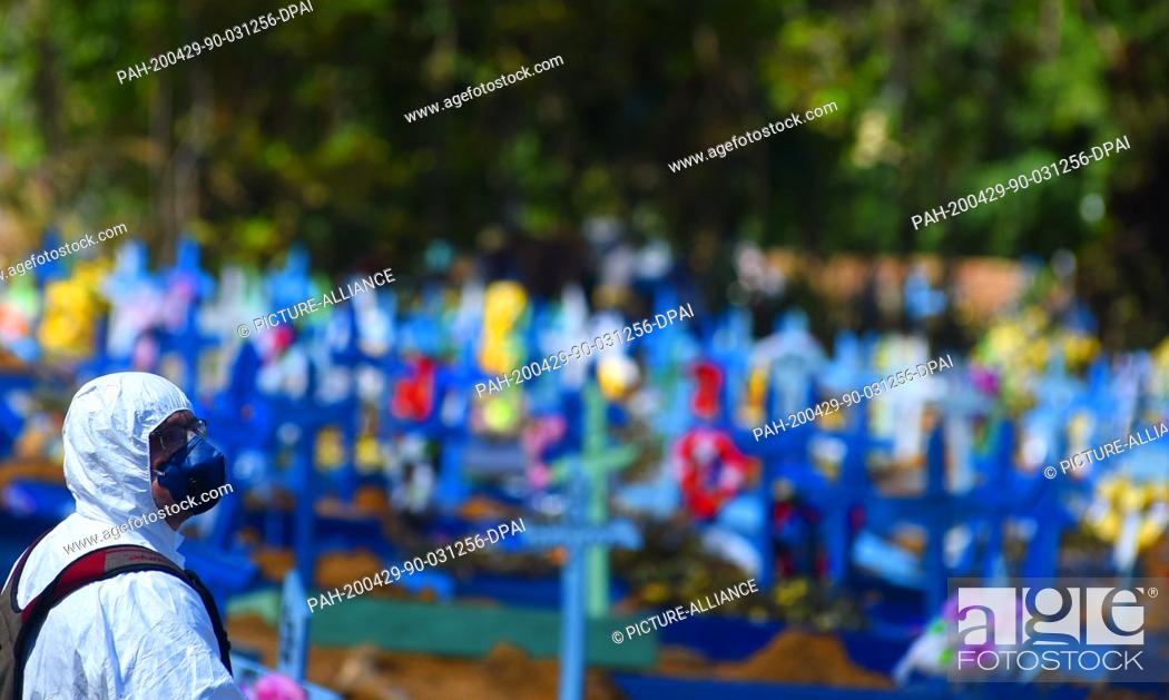 Stock Photo: 29 April 2020, Brazil, Manaus: A man in a protective suit against the spread of Covid-19 looks at the numerous colorful crosses that stand over the graves in.