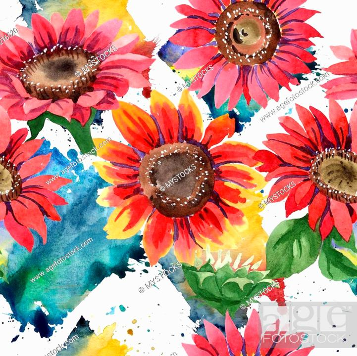 Wildflower Red Sunflower Flower In A Watercolor Style Seamless