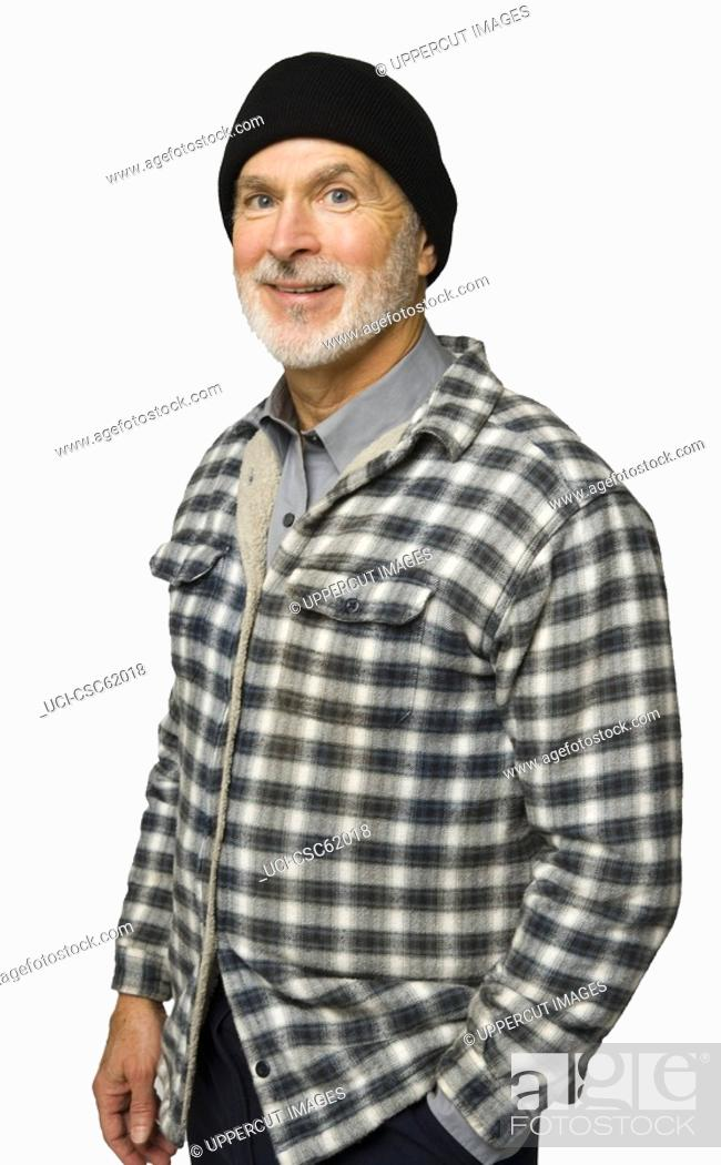 Stock Photo: Senior man wearing flannel shirt.