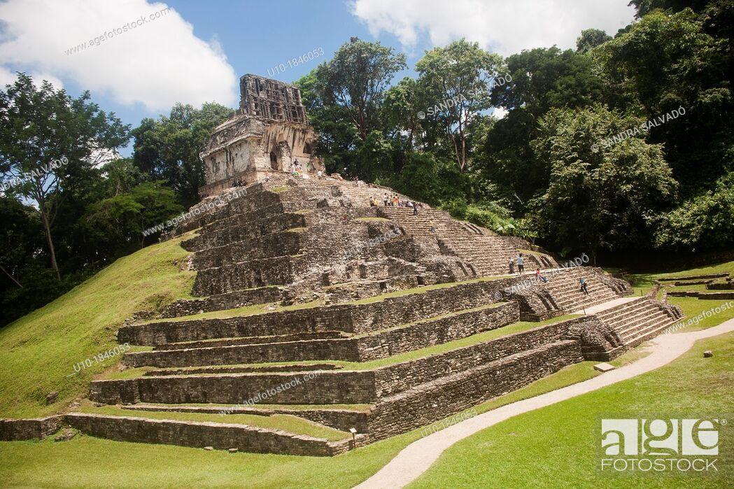 Stock Photo: Archeological site Palenque, Chiapas, Mexico.