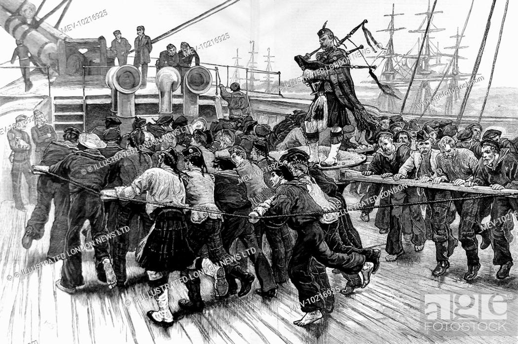 Stock Photo: Engraving showing Royal Navy sailors and soldiers from a Scottish Regiment manning a capstan, whilst a Scotch piper stands on the capstan to give them some.