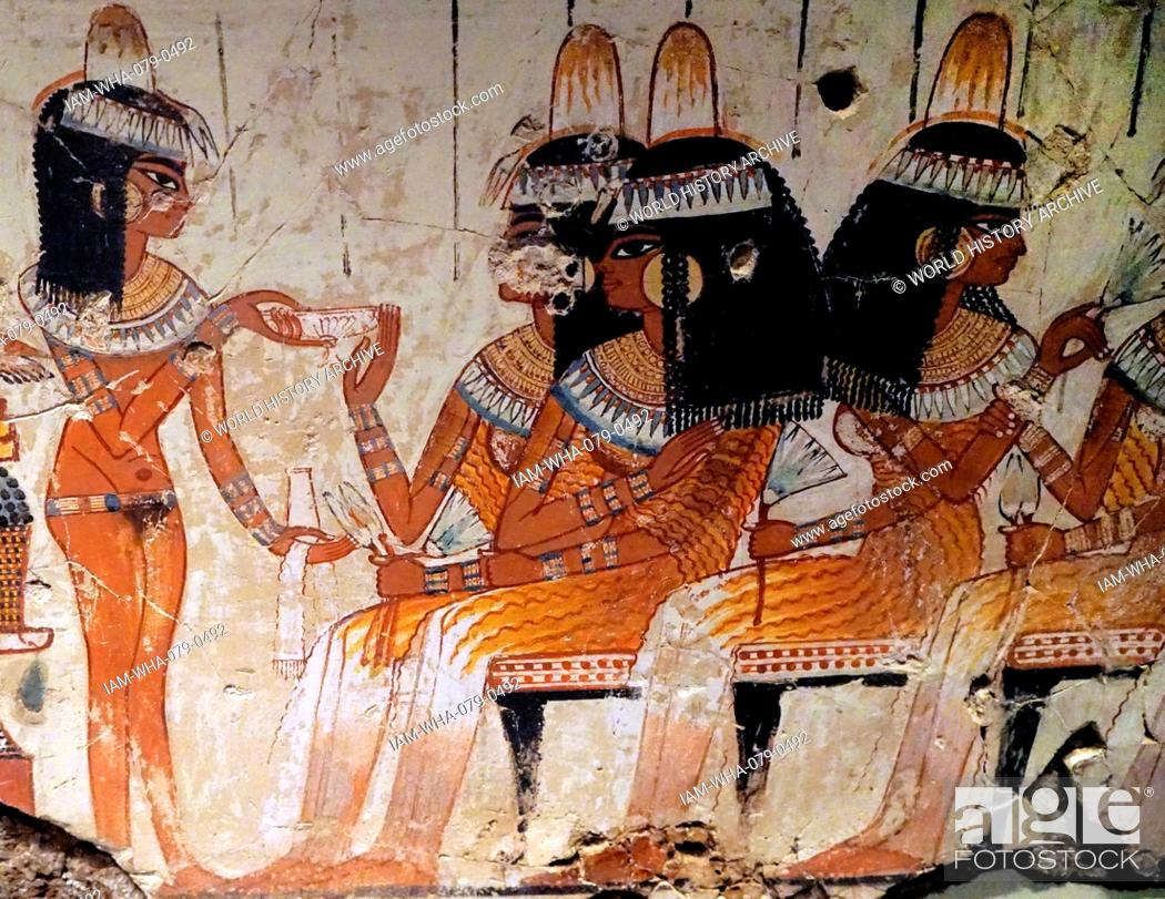 Stock Photo: Scenes from the Tomb of Nebamun, a middle-ranking official scribe and grain accountant of the New Kingdom. Dated 1700 BC.