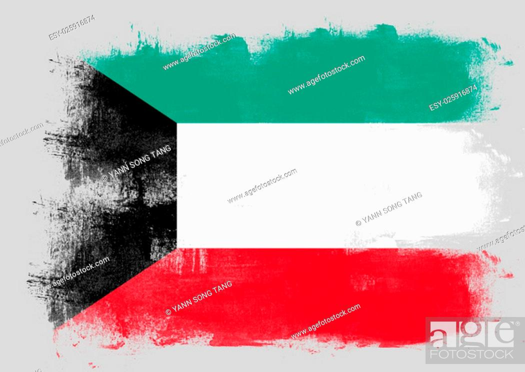 Stock Photo: Flag of Kuwait painted with brush on solid background,.