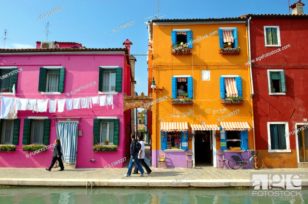 Stock Photo: Streets and canals of Burano island - Venice - Italy.