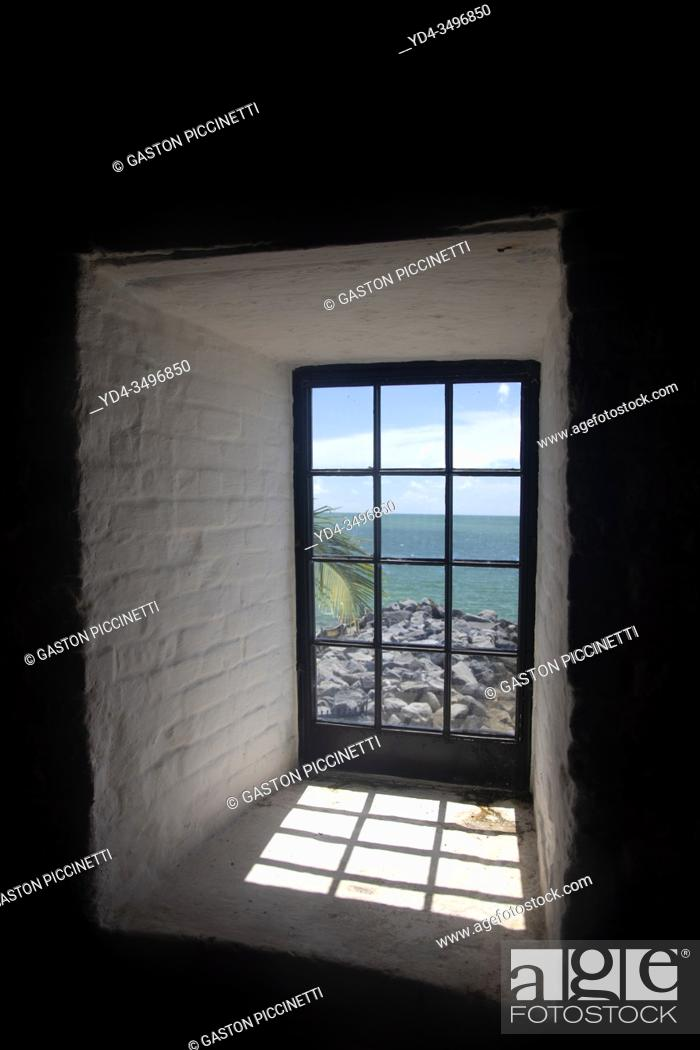 Stock Photo: Miami-Dade, Florida, USA. August 12 2016: View to the beach from the window of the Key Biscayne Lighthouse, USA.