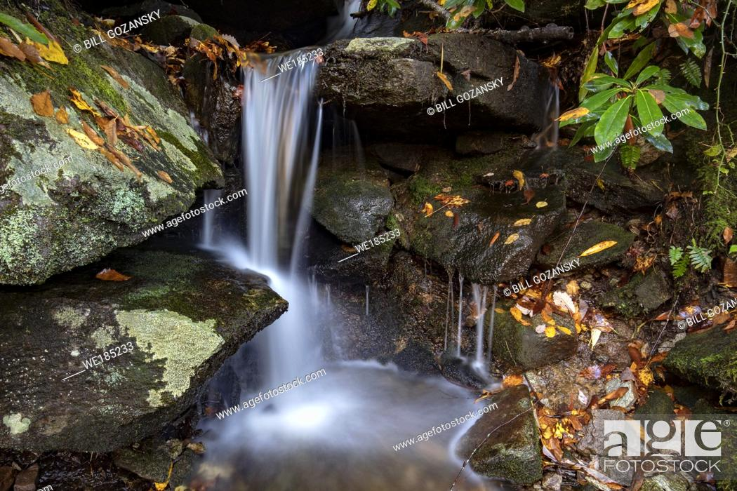 Stock Photo: Small roadside waterfall in Pisgah National Forest, Brevard, North Carolina, USA.