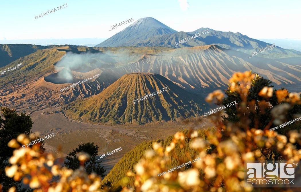 Stock Photo: Bromo, Batok and Semeru volcanoes, Bromo-Tengger-Semeru National Park, Java.
