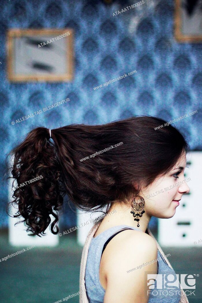 Stock Photo: Young girl with ponytail.