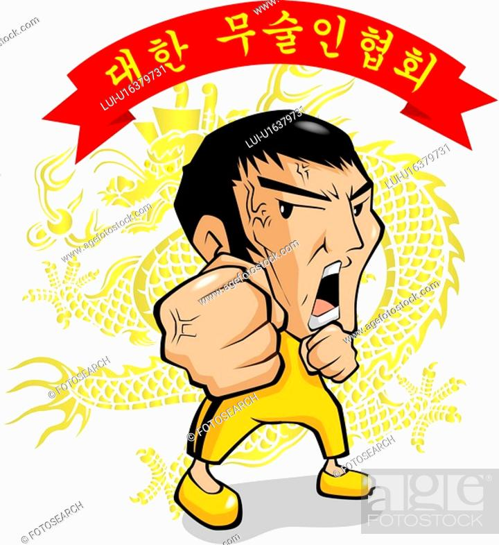 Stock Photo: people, dragon, fist, kung fu, bruce lee, martial arts.