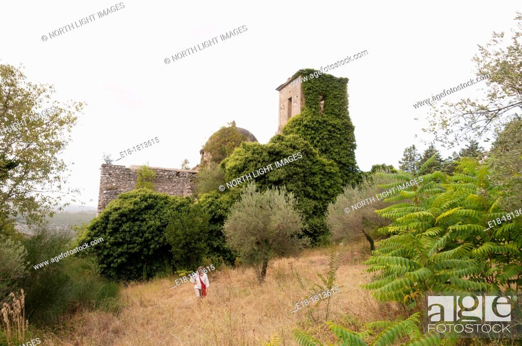 Stock Photo: Italy, Caserta, San Pietro Infine Remains of the village and church, abandoned after major battle of WWII  New town was built down the hill in new location.