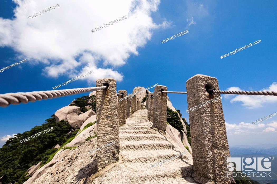 Stock Photo: Stairway on a mountain, Huangshan Mountains, Anhui Province, China.