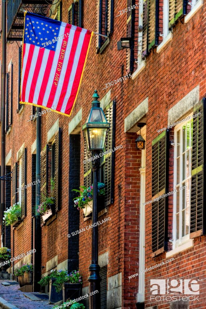 Stock Photo: Acorn Street Details - One of the last true cobblestone streets left in Boston, Massachusetts, is located in the famous Acorn Street at Beacon Hill.