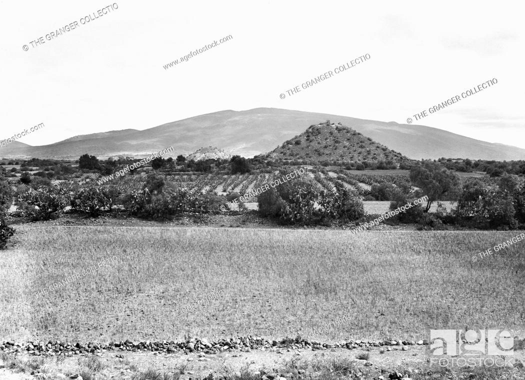 Stock Photo: MEXICO: TEOTIHUACAN.View of San Juan de Teotihuacan, 1895, before serious excavation had begun at the ancient city of Teotihuacan.