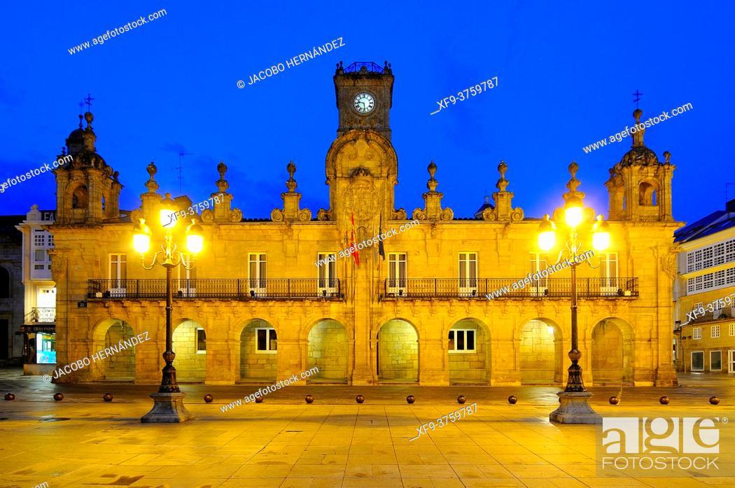 Stock Photo: Town Hall at night. Lugo. Galicia. Spain.