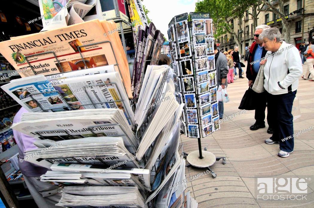 Stock Photo: Newspaper stand, La Rambla, Barcelona, Catalonia, Spain.