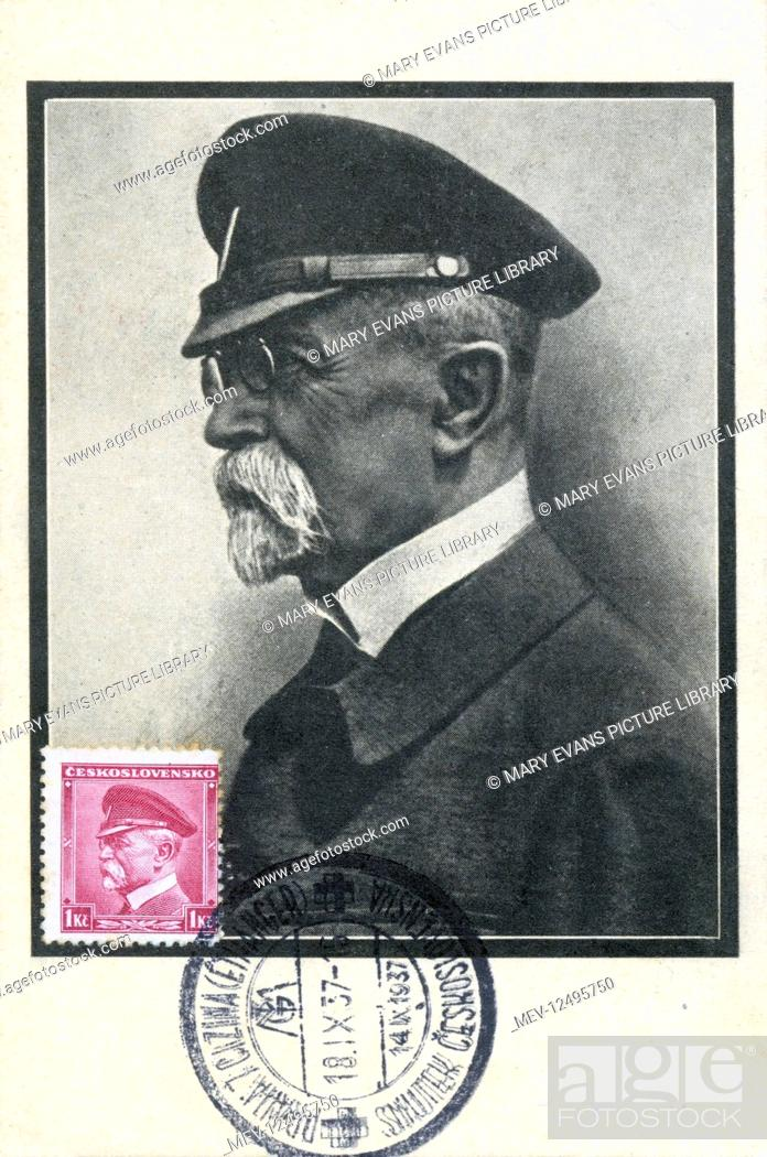 Stock Photo: Mourning card for President Tomas Garrigue Masaryk of Czechoslovakia (1850-1937) - produced on the day of his death and sent 4 days later.