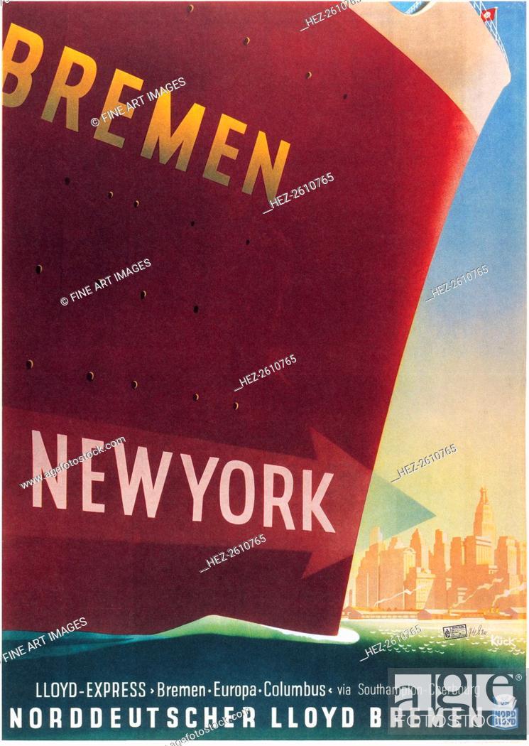Stock Photo Bremen New York Lloyd Express Line 1937 Artist Kück Fritz 1893 1974