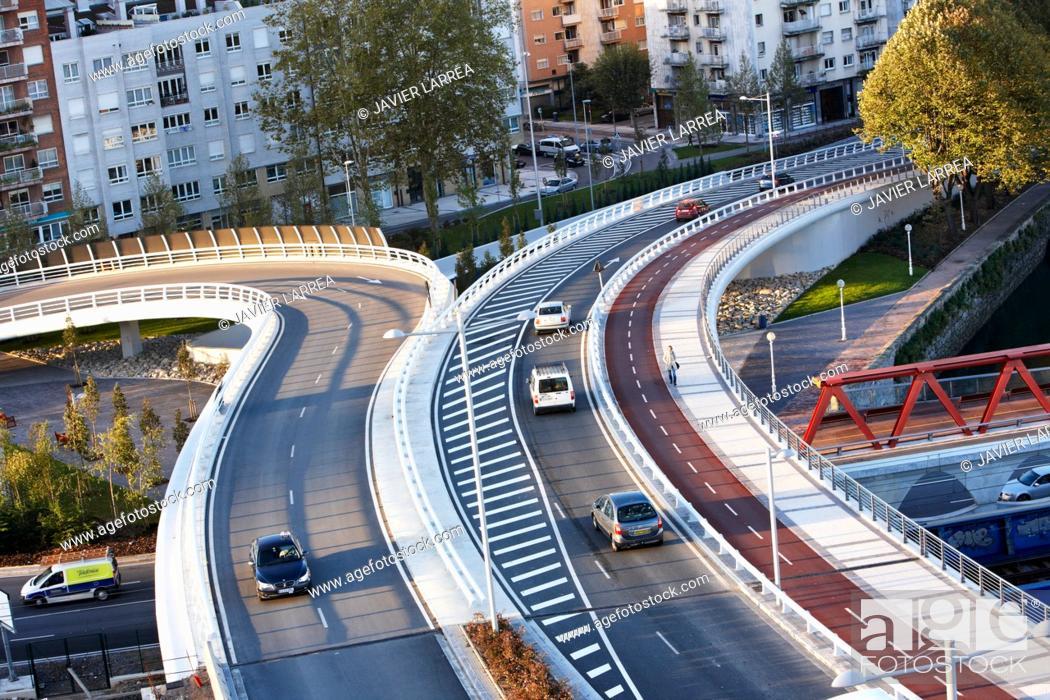 Stock Photo: Viaduct with bike lane, San Sebastian, Guipuzcoa, Basque Country, Spain.