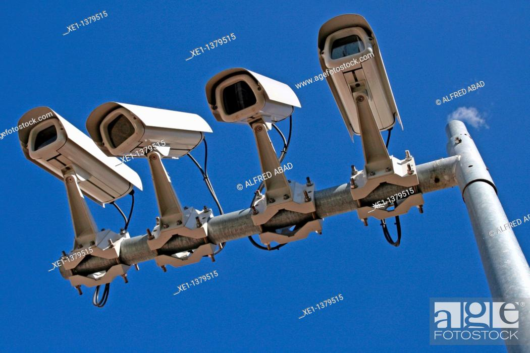 Stock Photo: security cameras, Tarragona, Catalonia, Spain.