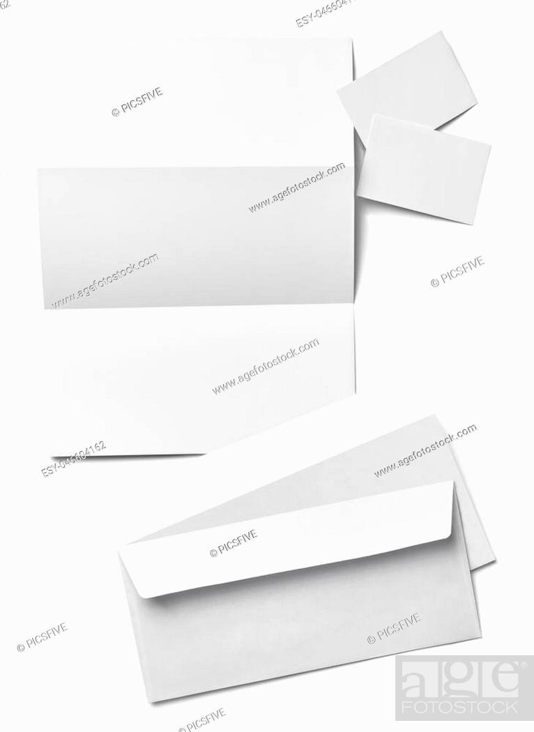 Stock Photo: collection of various blank white paper on white background.