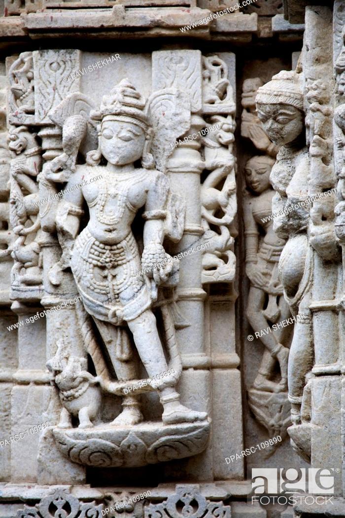 Stock Photo: Sculptures at 2000 years old ancient monument Adinath Jain temple ; Village Delwara ; Udaipur ; Rajasthan ; India.