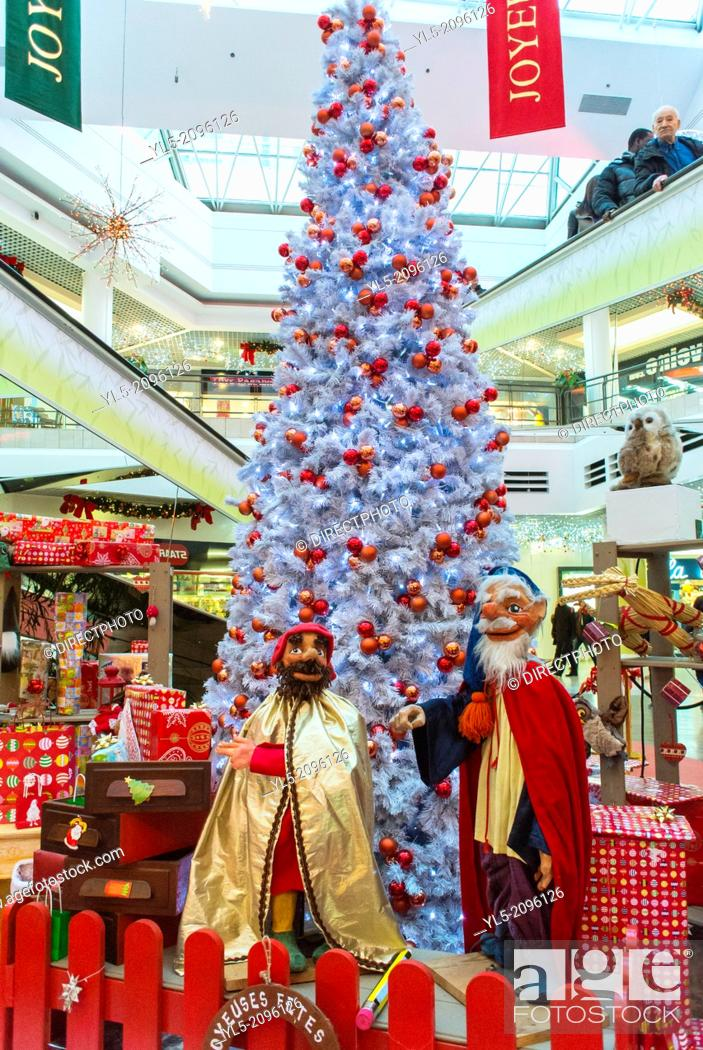 Christmas In France Decorations.Paris France Christmas Decorations Inside Shopping Mall In